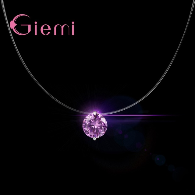 GIEMI S90 Silver Color Cubic Round Different Colors Pendant Necklace Genuine Brand Charm Shiny Women Birthday Gift Hot Sale