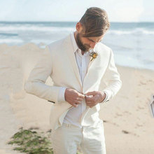 Ivory Linen Men Beach Wedding Suits Groom Suit Groomsmen Tuxedo Man Blazers Slim Fit Terno Masculino 2 Piece Coat Pants