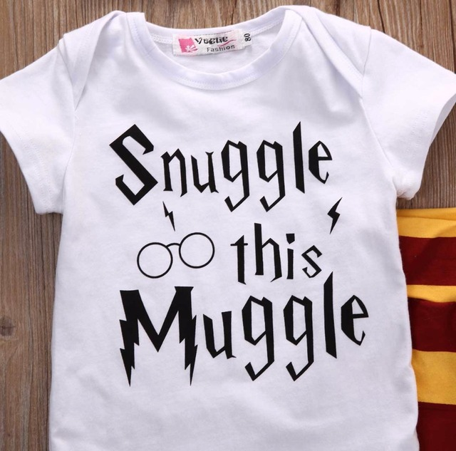 "3PC Wizard Themed Outfit ""Snuggle this Muggle"" - Bodysuit + Striped Pants + Striped Hat 5"
