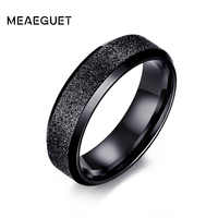 Meaeguet Stainless Steel Engagement Rings For Women Men Dull Ring Jewelry Female Dull Polish Single Ring Wedding Ring 6mm Width
