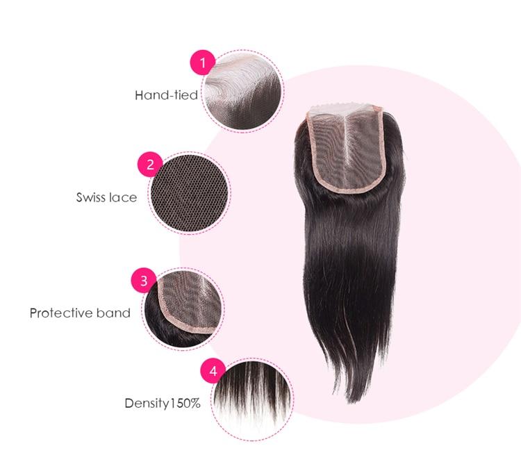 Гарячі волосся закриття перуанських - Людське волосся (чорне) - фото 2