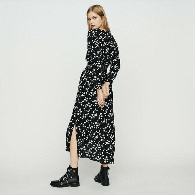 2019 新しい女性デイジーフラワープリントスプリットロングドレス  グループ上の レディース衣服 からの ドレス の中 1