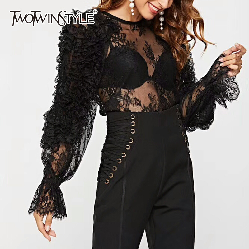 TWOTWINSTYLE Sexy Lace Long Sleeve Blouse Tops Female Shirts O Neck Flare Sleeve Hollow Out Perspective White Blouses Women 2019