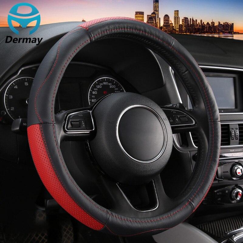 Dermay Genuine Leather Steering Wheel Cover Fit 95 Cars 15inch Top