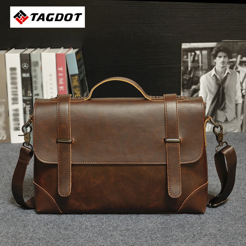 Brand Vintage leather men bag crazy horse Leather men's handbags casual business shoulder bag briefcase messenger bag laptop famous brand vintage casual crazy cowhide leather messenger bag men satchel crossbody shoulder business briefcase bag w0960
