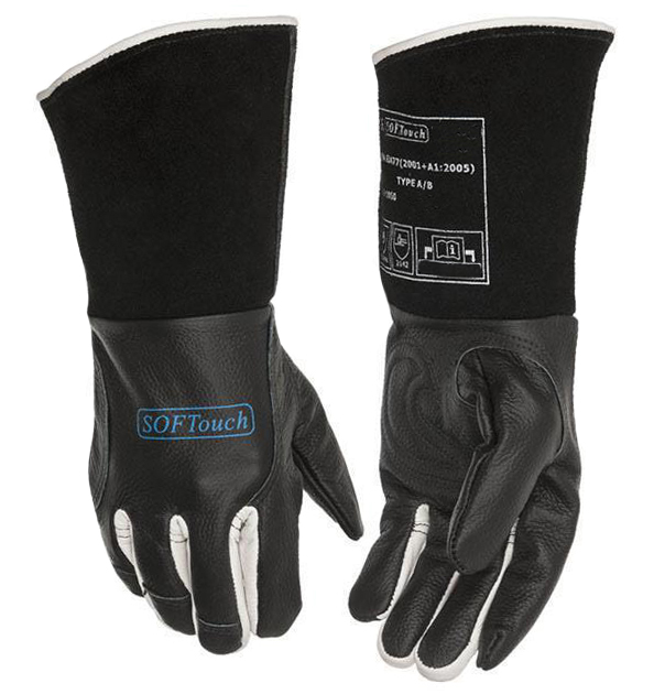 Grain Black Leather Safety protection for Welder WELDAS Welder Neck Protection