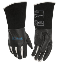 high temperature resistant splash resistant anti cold leather lengthened thickened welding gloves fireproof work safety gloves Oxygen welding gloves TIG MIG safety glove black color high temperature resistant breathable slip-resistant work glove