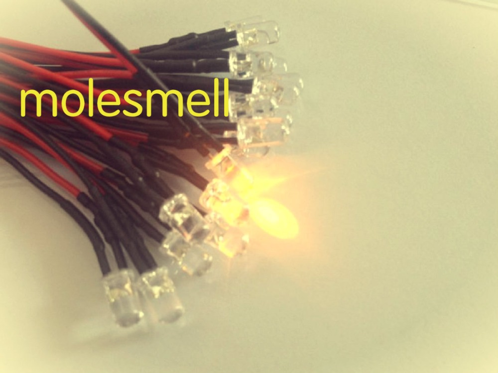 50pcs 5mm 12v Yellow Water Clear Round Led 12V DC 20cm Pre-Wired LED Light DIY