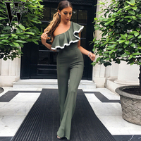 WYHHCJ 2017 Sexy Off Shoulder Women Jumpsuit Sleeveless Ruffles Bodysuit Bodycon Elegante Women Jumpsuits Combinaison Femme