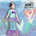 Pequeño Traje de Sirena Ariel Princesa Vestido de Traje de Verano de Las Muchachas Vestido de Fiesta Elegante Vestido de Los Cabritos Para Halloween Cosplay