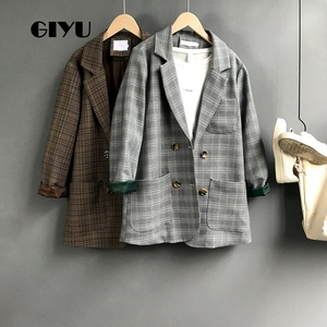 GIYU Spring Long Sleeve Vintage Double Breasted Blazers Women Plaid Printing Suit Pockets Casual Jacket