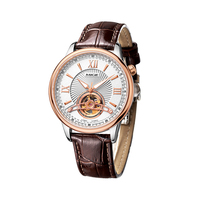 2017 MIGE LUXURY BRAND ROUND SKELETON ROSE CASE WHITE FACE BROWN LEATHER STRAP JAPAN AUTOMATIC MOVEMENT