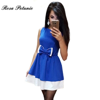 Women Pleated Bow Patchwork Dress Summer Elegant Sleeveless Casual Sweet Dresses Vestidos