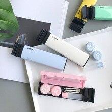 Карамельный цвет контактные линзы с зеркалом Контактные линзы Дело контейнер милые Travel Kit Box держатель телефона