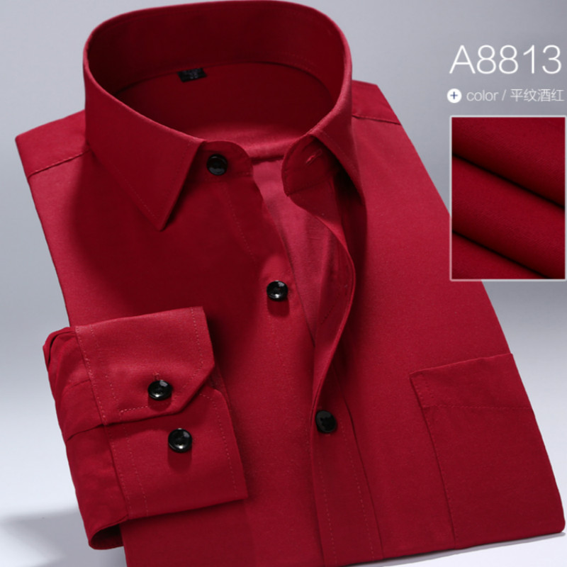 2019 The New Men Work Shirt Brand Is Soft Long-sleeved Square Collar Pure Cotton/twill Men's Shirts, Men's Shirts In 13 Colors