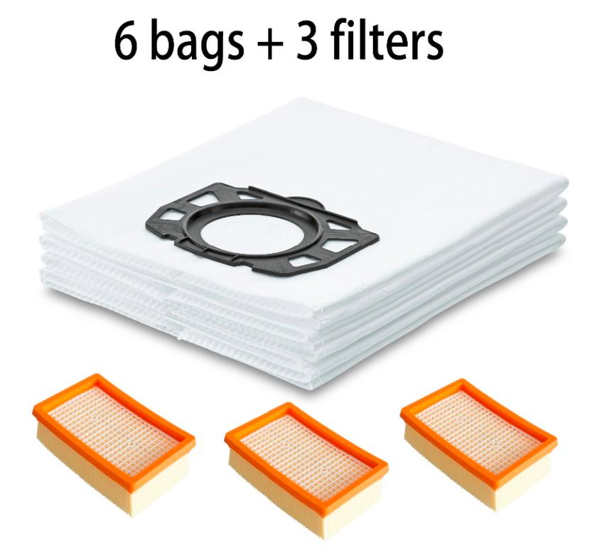цена на Vacuum Cleaner 3 Hepa Filter + 6 dust bags kit for Karcher MV4 MV5 MV6 WD4 WD5 WD6 WD4000 to WD5999 Premium Parts Replacement