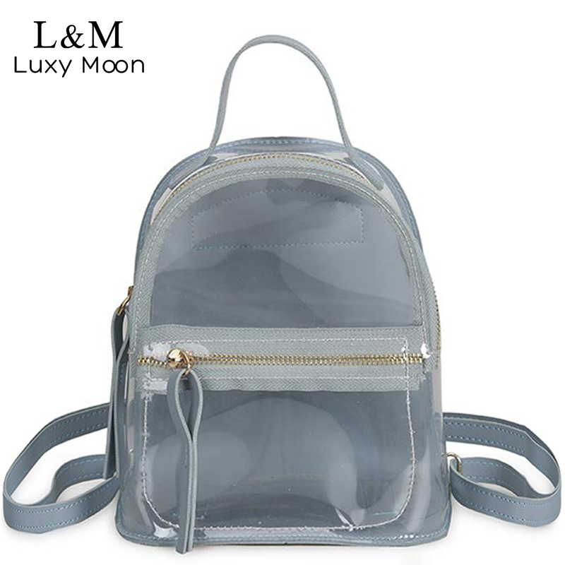 Luxy moon Mini Backpack Women Solid Fashion PVC Transparent Backpack Female Small Travel Bag Girls School Bags Mochilas XA411H