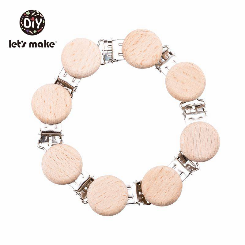 Let's Make 5pcs Pacifier Clip Making Wooden Soother Clip Nursing Accessories Diy Dummy Clip Chains Wooden Baby Teether 25*45mm