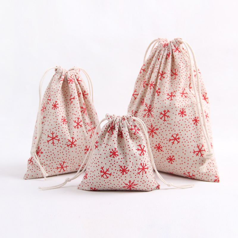 YILE 1pc Cotton Linen Drawstring Party Gift Bag Christmas Tree Deer Snowflake Red N830d