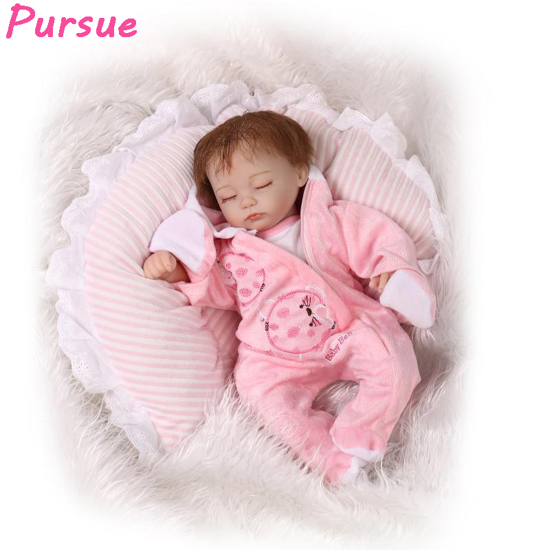 Pursue Pink Doll Reborn Babies Toys for Girls Baby Born Silicone American Girl Baby Cloth Dolls for Whole Sale 16 inch 42cm pursue 18 inch hot naked american girl