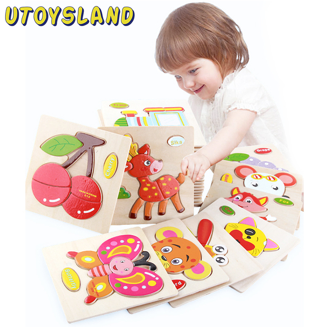 UTOYSLAND Wooden 3D Puzzle Cartoon Jigsaw Animal Puzzles Intelligence Kids Learning Educational Toy for Children Baby Gift