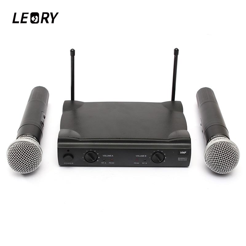 LEORY VHF Karaoke Microphone System Dual Wireless Condenser Microphone Mic With Receiver For Family Party KTV Singing leory uhf wireless microphone system 4 channel uhf receiver karaoke microphone system with four mic for diy family ktv singing