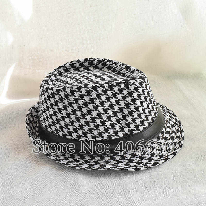 ... Winter Black And White Houndstooth Pattern Fedora Hats For Men Chapeu  Masculino Panama Jazz cap MEDB001 ... fdfddc650b3