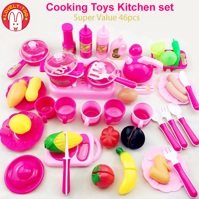 46pcs Children's kitchen Toys Miniature Kitchen Cooking Toy Cutting Fruit Vegetable Food Frying Pan Educational Toys For Girls