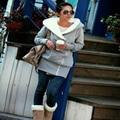 2016 Otoño Invierno Con Capucha de Las Mujeres de Lana Caliente MS MS Lana para Mantener el Calor Con Gruesos Abrigos Con Capucha Ropa de Color Puro S-XXL
