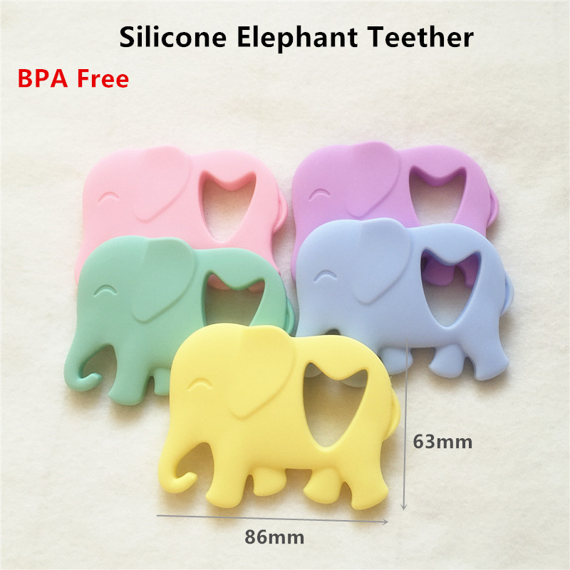 Chenkai 50PCS Silicone Elephant Pacifier Teether DIY Baby Shower Nursing Chewing Mommy wearing Jewelry Toy Candy