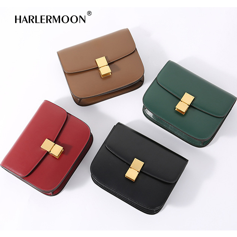 2ef4a0293e64 MK Genuine Leather Women Shoulder Bag Cowhide MK Crossbody Bags Handbags  Message Bags Girls Flap Lady Party Lock Purse 4 Colors-in Shoulder Bags  from ...