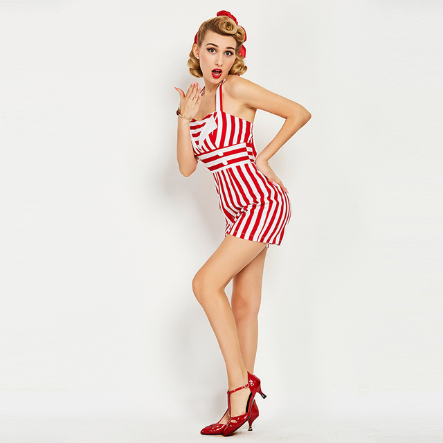Sisjuly Women Summer Vintage Jumpsuits Fashion Women Red White Striped Sexy Halter Backless Retro Playsuit Summer Women Jumpsuit