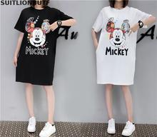 Suitlionbutf XL-5XL Plus Size Women Cotton Summer Dress Mickey Mouse Print Solid Dress A-line Loose Dress Casual Women dresses