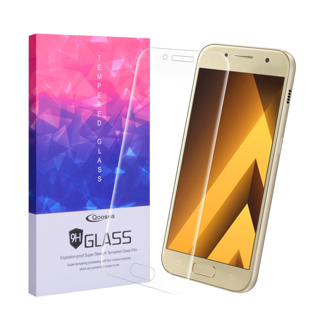 NEW Qosea For Samsung Galaxy A5 2017 Screen Protector,9H Tempered Glass Electroplated 3D Front Full Film For Galaxy A3 A7 Glass