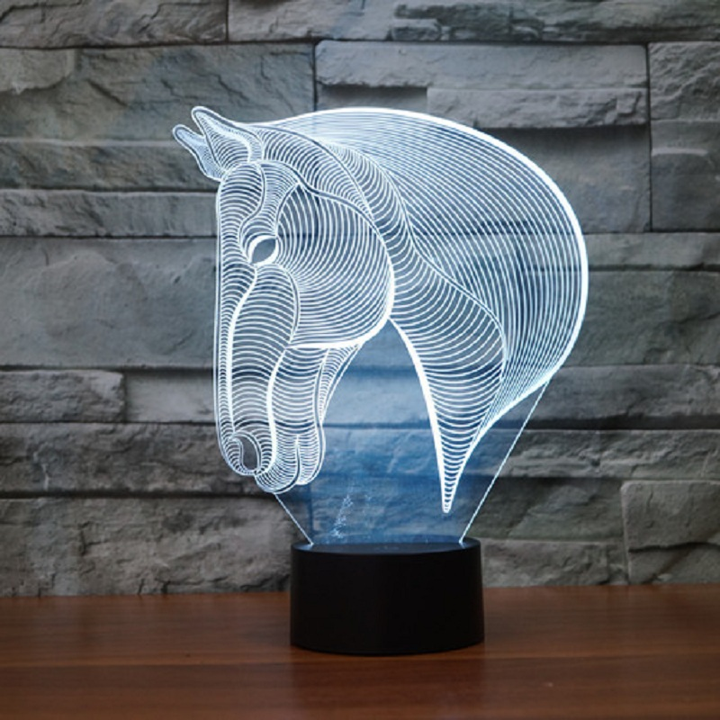 Creative 7Colors Changing Acrylic Horse Led Nightlights 3D LED Desk Table Lamp USB Bedside Lamps Horse Decoration light IY803386