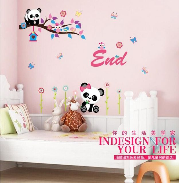 Panda Cartoon Owl Wall Stickers Home Decor Bedroom Home Decorative Stickers  AY9220 Wall Decor Wallpaper