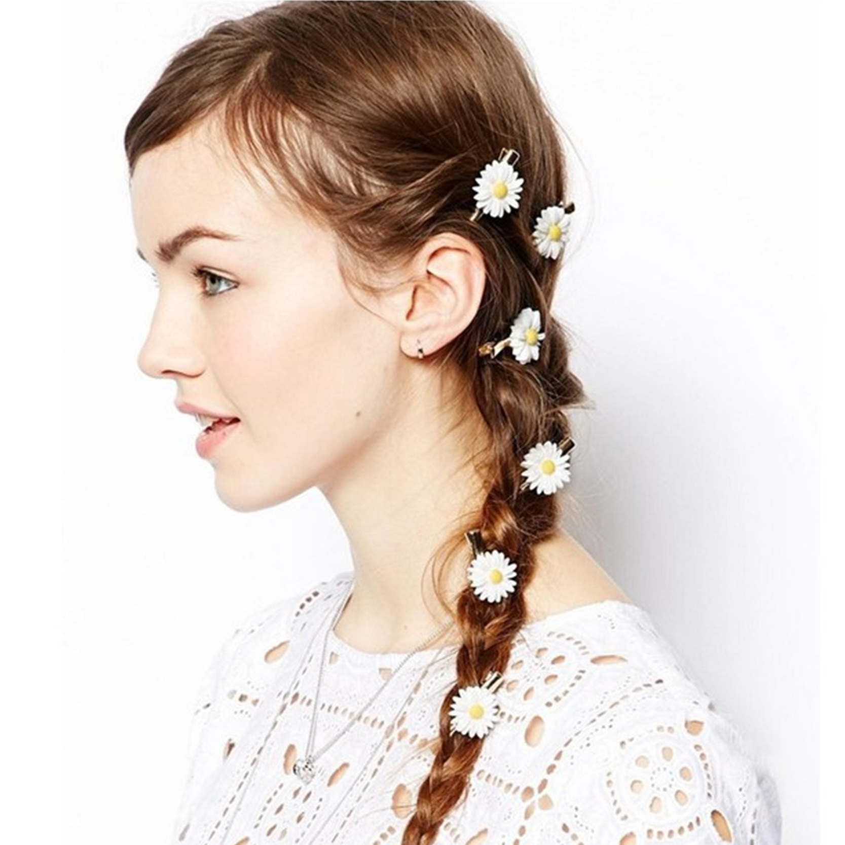 10 Set Summer Style Daisy Girls Hair Clips Metal Clip With Flowers