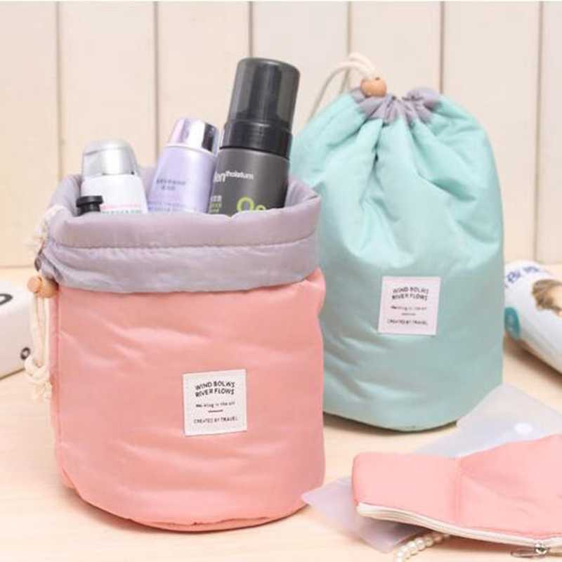 5ebcb50ece Travel Barrel Shaped Fashion Cosmetic Bag Make Up Bag Drawstring Elegant  Drum Wash Kit Bags Makeup