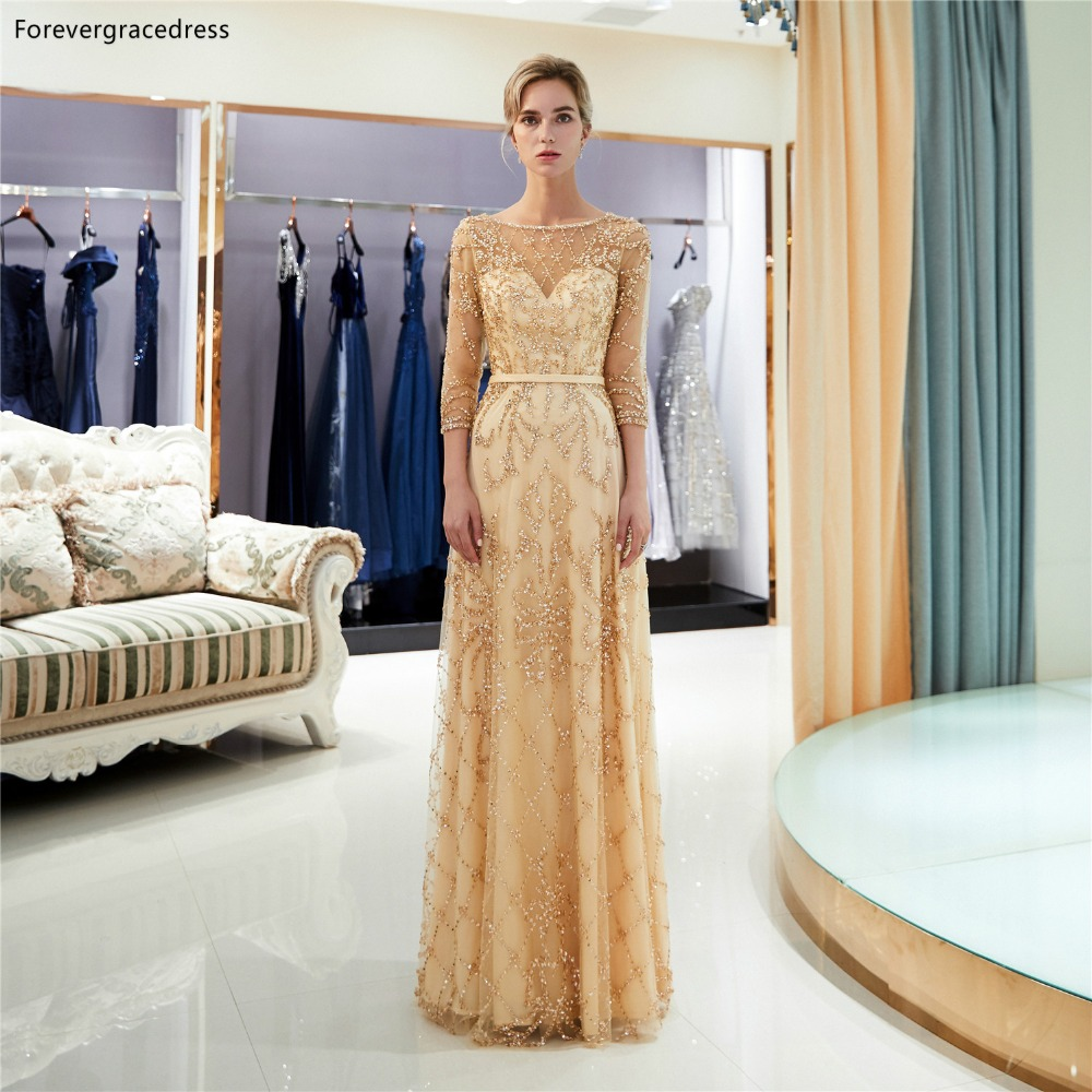Forevergracedress Gold Long Sleeves   Prom     Dresses   2019 A Line Beading Crystals Tulle Formal Party Gowns Plus Size Custom Made