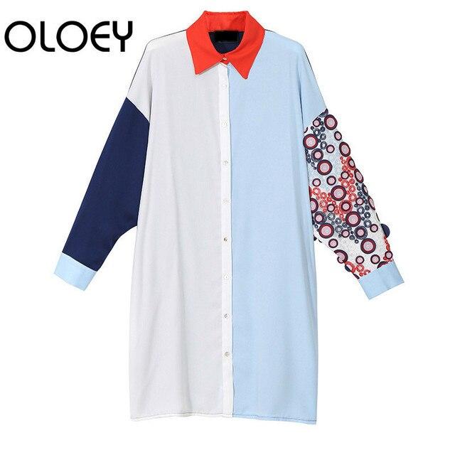 OLOEY New Women 2018 Autumn Korea Fashion Turn-down Collar Full Sleeve Loose  Dress Female 8bca0e5be2a7