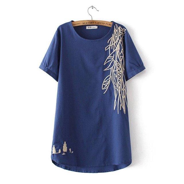 Más tamaño Remata camisetas Verano 2016 Bordado Bordado de Lino de Algodón Camiseta Femenina Camiseta Top Tee Mujeres Camiseta Ropa Femenina