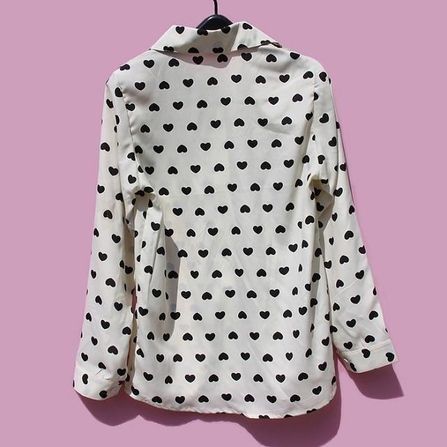 Новые повседневные винтажные женские длинные шифоновые Блузы с сердечками и длинными рукавами, рубашки с отложным воротником, женская одежда, рубашки 63018