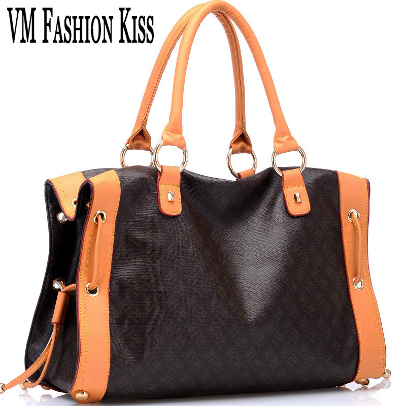 Vm Fashion Kiss Designer Totes Women Boston Bag Imitation Leather Handbag Old Flower Letter Veins Female Bags Loui Handbags In Top Handle From Luggage