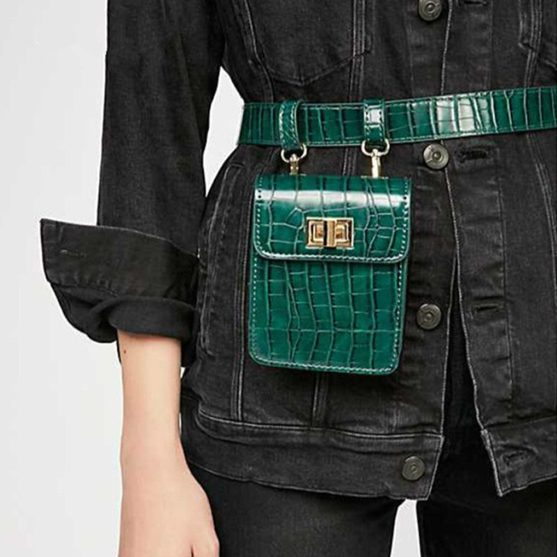 2019 Vintage Alligator Women Fanny Packs PU Leather Belt Waist Packs Chic Style Mini Shoulder Bag Retro Pattern Small Handbag
