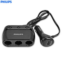 PHILIPS DLP2019 12V Car Power Charger Input 120W 3 Socket Universal Auto Car Cigarette Lighter Vehicle