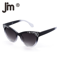 JM Luxury Embellished Cat Eye Sunglasses Gradient Brand Designer Sun Glasses Shades Women UV400