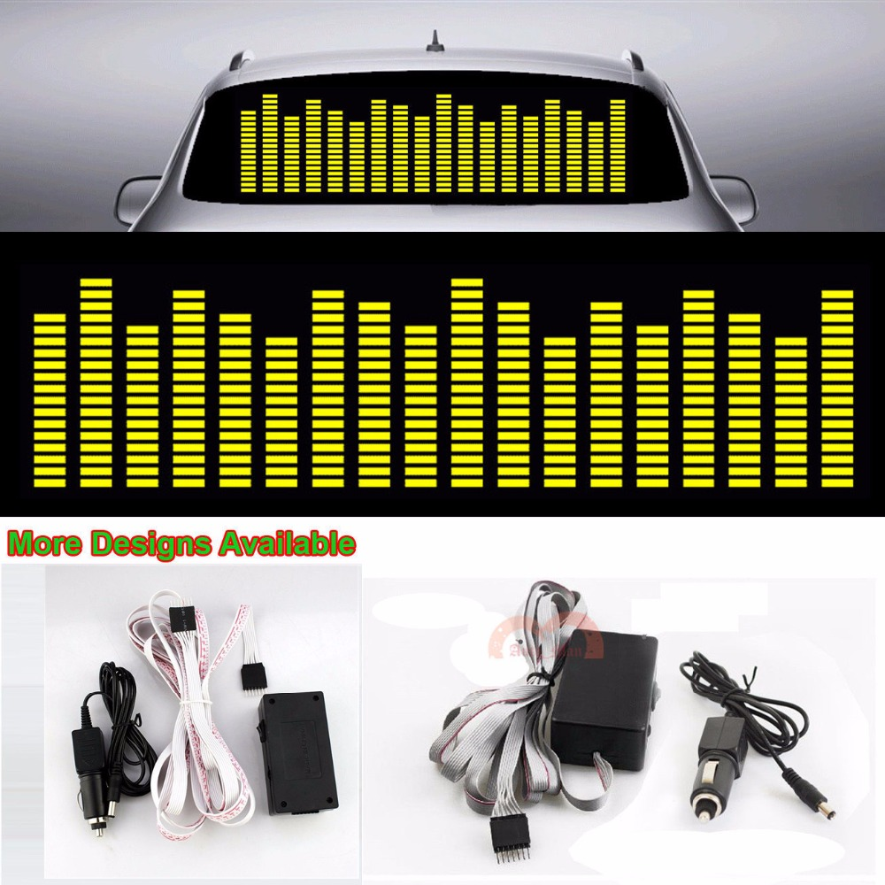CYAN SOIL BAY Yellow Music Rhythm Strips Flash Light Sound Activated Equalizer Car Sticker 90*25 cyan soil bay 1pc car interior light