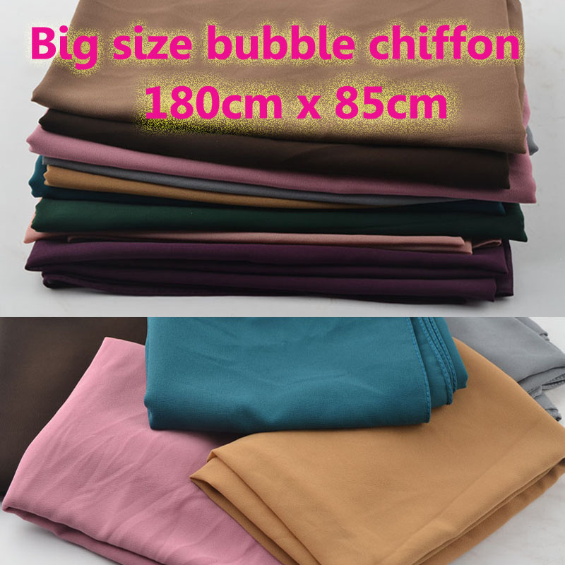 Big Size High Quality Bubble Chiffon,plain Solid Color Scarf,muslim Hijab,shawls Wrap,muffler,popular Muslim Scarves,head Scarf