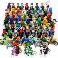 Ninja blocos de construção tijolo cole kai jay lloyd nya skylor zane pythor chen bicicleta ninjagoed figuras caber l crianças brinquedo