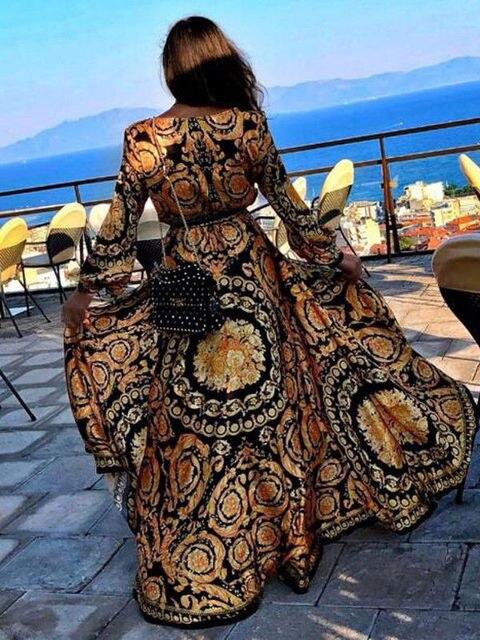 Elegant Sexy Boat Neck Glitter Deep V Neck Print Party Dress  3